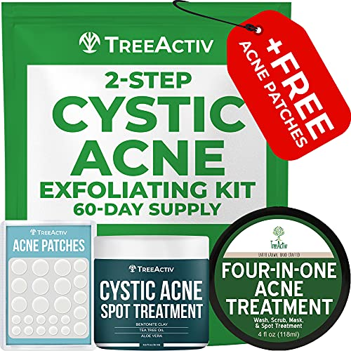 TreeActiv 2-Step Cystic Acne Exfoliating Treatment Kit | Sulfur System...