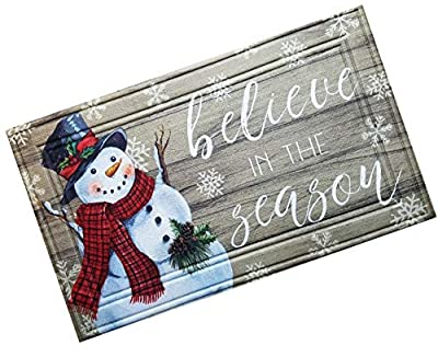 Snowman Snowflakes Doormat, Non-Skid Rubber Backing 18 x 30 inches with Molded Surface for Front Door Entryway, Believe in The Season Welcome Door Mat for High Traffic Areas