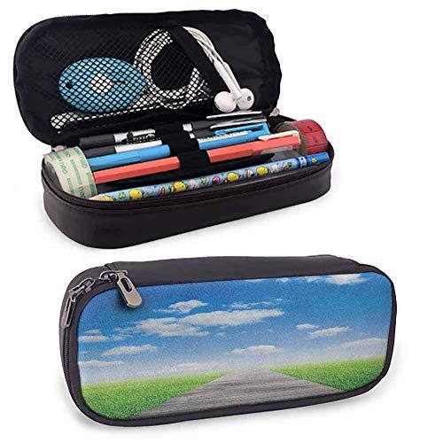 XCNGG Country Pencil Case mit doppeltem Reißverschluss, Weg in Richtung Wiese...
