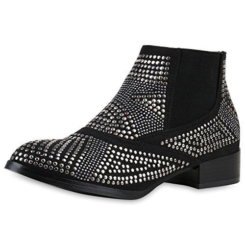 SCARPE VITA Damen Strass Chelsea Boots Nieten Stiefeletten Leder-Optik 165273 Schwarz Nieten 36