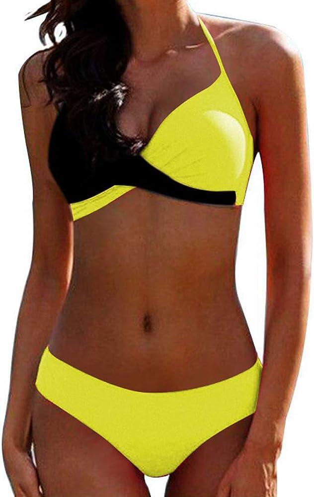 Jfan, costume due pezzi da bagno push up per donna, reggiseno imbottito, giallo e nero