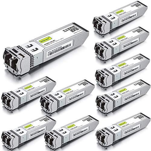 [10 Stück] 10G SFP+ SR Multimode Modul - 10GBase-SR LC Transceiver Kompatibel für Cisco SFP-10G-SR, Meraki MA-SFP-10GB-SR, Mikrotik S+85DLC03D, Ubiquiti, Netgear, Zyxel, Qnap, D-Link, Open Switch