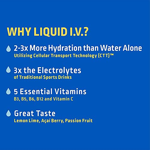 Liquid I.V. Hydration Multiplier - Lemon Lime - Hydration Powder Packets | Electrolyte Supplement Drink Mix | Low Sugar | Easy Open Single-Serving Stick | Non-GMO (Lemon Lime/16 Count)