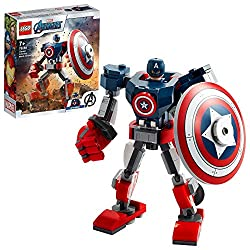 Features a posable mech with a large shield that fits in its gripping hand, plus a smaller shield that also attaches to the mechs leg Includes a Captain America minifigure that scales up the action with this mighty, movable mech and it can hold the s...