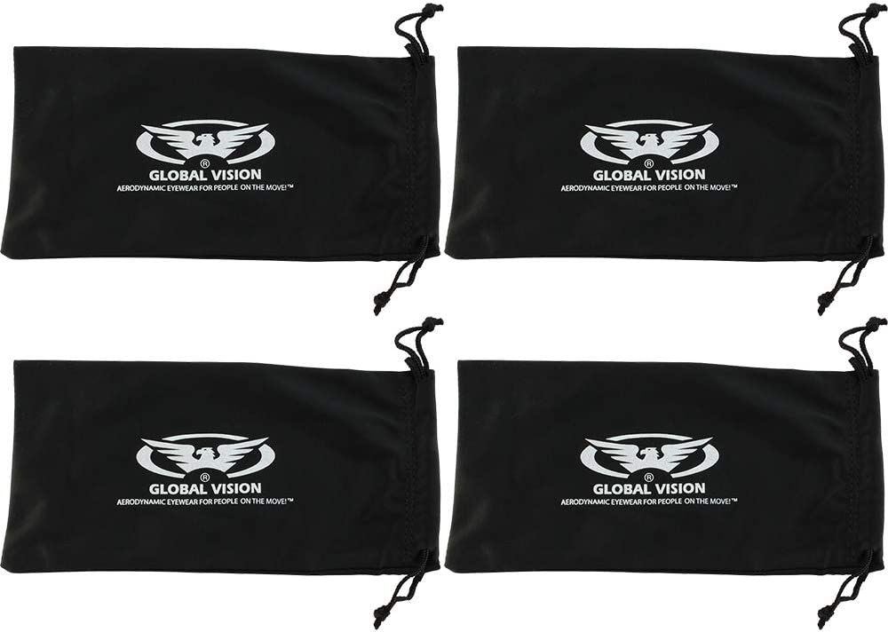 4 BLACK Microfiber Draw String Pouch Bag Case for Sunglasses or Eyeglasses