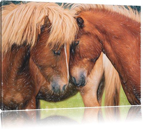 Pixxprint schmusende Pferde als Leinwandbild | Größe: 80x60 cm | Wandbild | Kunstdruck | fertig bespannt