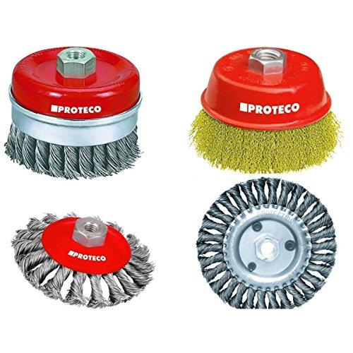 Proteco-Werkzeug® Stahldrahtbürst-e Set 4 tlg für Winkelschleifer Stahldraht Topfbürste Kegelbürste Rundbürste Gewinde M14 x 2,0