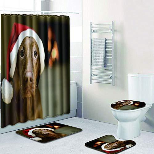 AUXING Kreative Badezimmer Duschvorhang Bodenmatte Kombination Vierteiliger Anzug Toilette Toilette Teppich Duschraum Matte Fuß Pad180 * 180 Duschvorhang + 50 * 80 Set