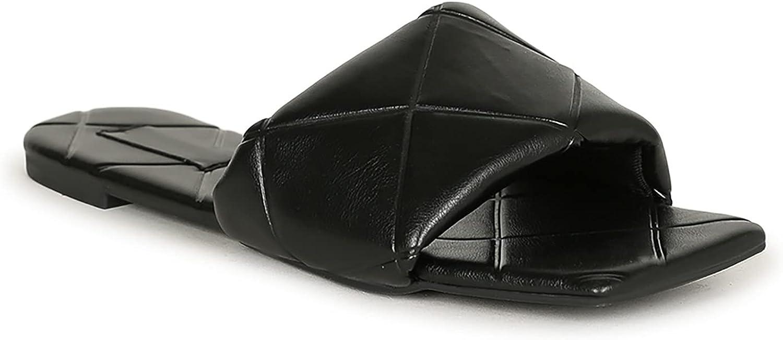 Alrisco Women's Square Toe Padded Quilted Design Flat Slide Sandal 20583
