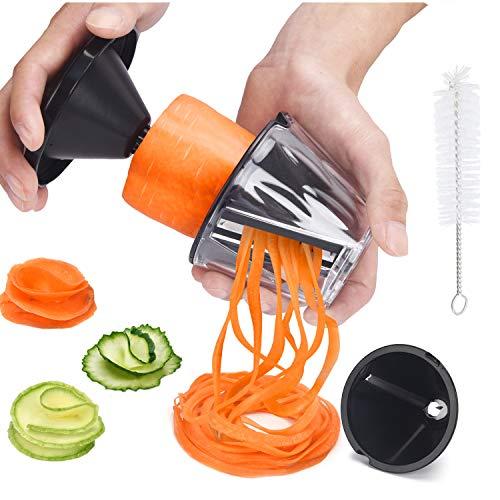 Spiralschneider Hand für Gemüsespaghetti 2 in 1 Gemüseschneider, XREXS Gemüse Spiralschneider für Karotte, Gurke, Zucchini, Gemüsenudeln, Zucchini Spaghetti Schneider, Gemüsenudeln Spiralschneider