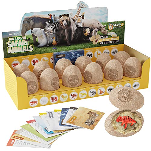 Dig a Dozen Safari Animals Kit - Break Open 12 Unique Wild Animal Eggs and Discover 12 Cute Animals with Learning Cards - Easter Archaeology Science STEM Gift