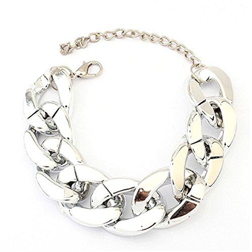 Ajcoflt Fashion Punk Rock Style Personality Alloy Metal Link Bracelet Bracelet Ladies Simple Bracelet
