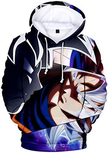 FLYCHEN Jungen Kapuzenpullover Super Son Goku Dragon Ball Hoodie Japanischer hochwertiger Anime-Pullover (Silbernes Auge 5015,4XL)