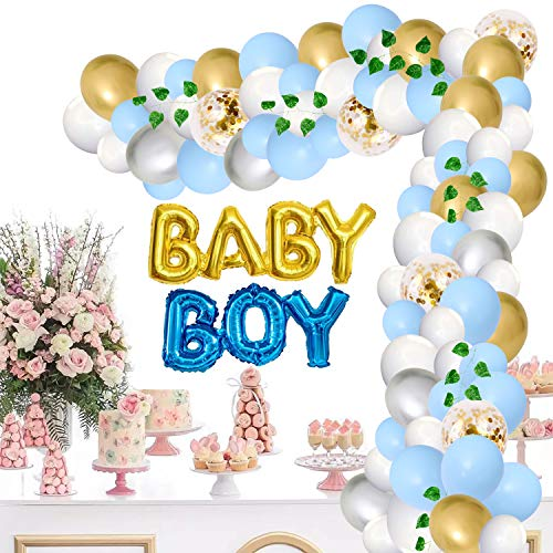 JoyBo Baby Shower Decorations for Boy,It is a Boy Baby Shower Decoration,Boy Baby Foil Balloon Banner,Greenery Vine,Light Blue,White,Gold,Silver and Confetti Balloons Garland Arch Kit (Blue Kit)