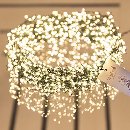 FAIRYTREES Luci LED per albero di Natale, luci PREMIUM, LED FairySparks 1000 diodi, colore della luce 2700K (bianco caldo), filo di rame verde 20m (IP44), FS1000