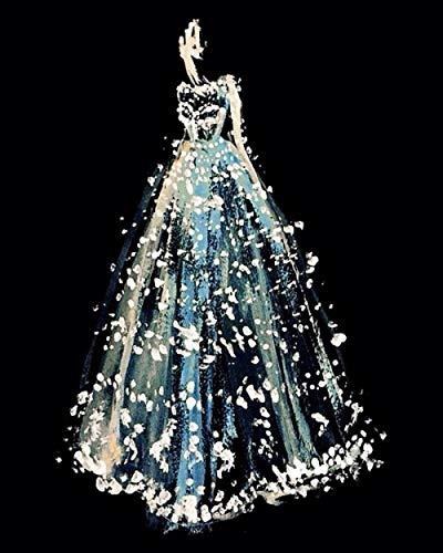 nanxiaotian 5D diamantschilderij om zelf te maken, diamant, vierkant, bruidsjurk, kristal, 36 x 46 cm, voor volwassenen en kinderen, perfect voor ontspanning en kunstenaars, wanddecoratie