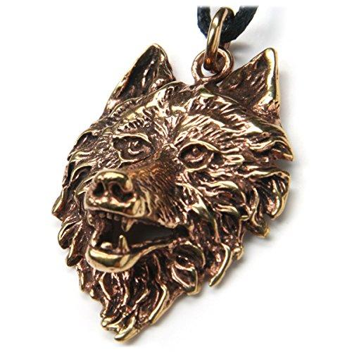 Drachensilber Wolf Kopf Schmuck Anhänger Bronze, Länge mit Öse: 4cm, inkl. Band Wolfskopf