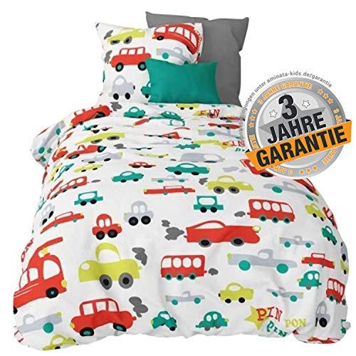 Aminata Kids Bettwäsche Auto-Motiv 100x135 cm + 40 x 60 cm, Jungen, Feuerwehr-Auto, Baumwolle mit Reißverschluss, Baby-Kinder-Bettwäsche, ist kuschelig, bunt, weiß & Abschlepp-Wagen, Polizei
