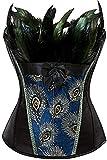 Betrothales Mujer Bustier Gótico De La Chic Vendimia Casual De Overbust Corsé Deshuesado Top Bordado De La Flor del Pavo Real del Patrón Burlesque S 6XL (Color : Schwarz, One Size : 36-38)