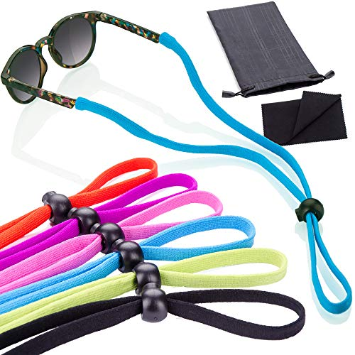6 Pack Sunglass Glasses Straps Adjustable and Stretchy - Universal Fit for Kids to Adult Sunglasses - Active Sport Eyewear Retainers for Anti Slip Protection