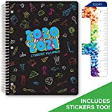 Dated Elementary Student Planner for Academic Year 2020-2021 (Matrix Style - 8.5'x11' - Subjects Cover) - Bonus Ruler/Bookmark and Planning Stickers