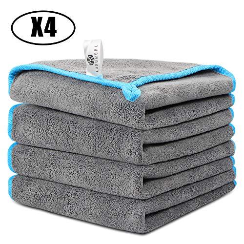 Faireach Luxureal Toalla Secado Coche Set de 4, Bayeta de Limpieza de Microfibra para Cuidado, Pulido, Lavado, Encerado y Limpieza del Polvo del Coche y Cuidado de la Cocina del Hoga (Gris y Azul)