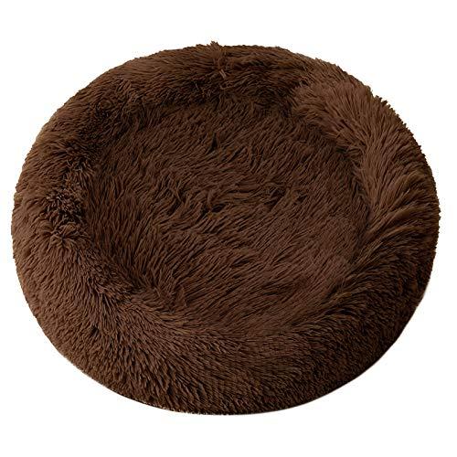 DanceWhale Rund Hundebett Flauschig Katzenbett Waschbar Hundekissen Weiches Plüsch Donut Haustierbett für Katzen Hunde (100cm, Kaffee)