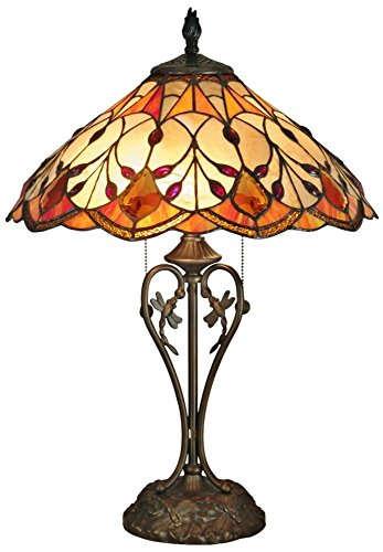 Dale Tiffany TT70699 Tiffany/Mica Two Light Table Lamp from Valencia Collection in Brass Finish, 17.00 inches, Antique Bronze