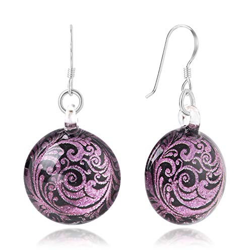 SUVANI Sterling Silver Hand Blown Glass Pink Lavender Abstract Flower Art Round Dangle Earrings