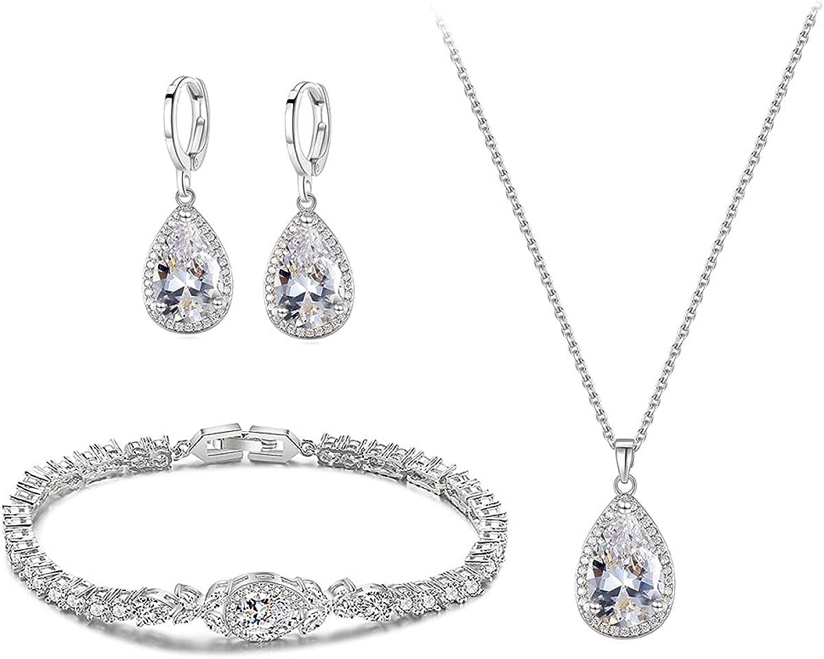 Ruzzykea Zirconia Hoop Earrings Necklace Bracelet Jewelry Sets Wedding Prom Bridal Bridesmaid Jewelry