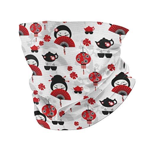 Geisha con abanico japonés, tetera china tradicional, diseño floral, bandana de seda para hombre y mujer, filtro de protección UV, absorbe el polvo, absorbe el sudor, lavable y reutilizable