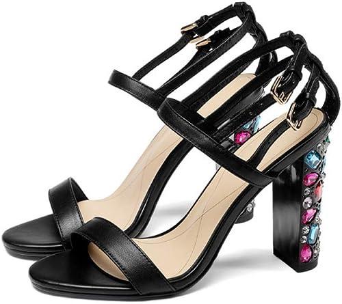 JRSHODA Femmes Or Or Ouvert Toe Strass Sandales en Cuir Véritable Cristal Talons Chaussures Noir Talons Sandales 33
