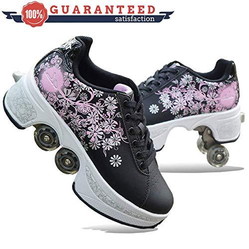 Roller Skates,Roller Schuhe Skate Schuhe Für Frauen Männer, Jungen Kinder Rad Schuhe Roller Sneakers Schuhe - Für Unisex Anfänger Geschenk,Black-37