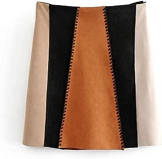 Fashion 2019 Women Vintage Mini Suede Skirts Chic Color Block Retro Casual Longa 6A129