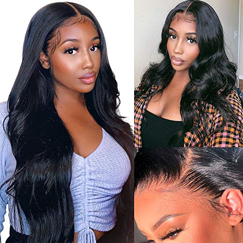 6x6 Lace Front Wig Body Wave Lace Closure Wigs with Baby Hair 180% Density Brazilian Human Hair Deep Parting Wigs for Black Women Pre Plucked Hairline Natural Color Wiggins Hair(24 Inch)
