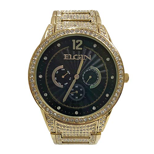 Elgin BlackTone and Jet with Gold Band Men's Watch -  FG160030G