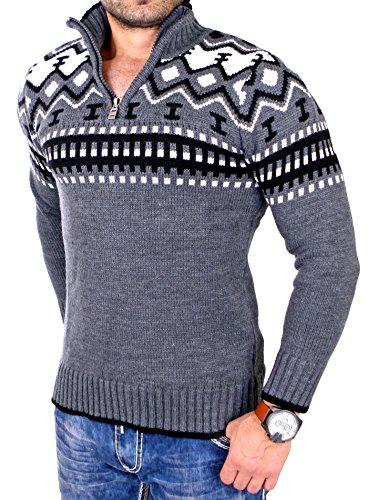 Reslad gebreide trui voor heren Crewneck Zipper winterpullover voor mannen Noors trui RS-3110