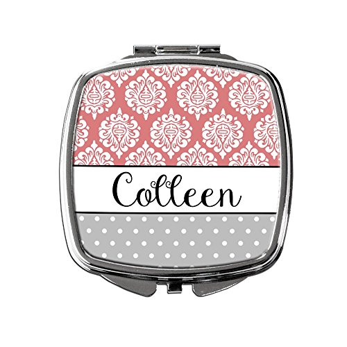 Damask and Polka Dot Personalized Compact Purse Mirror