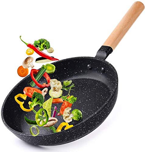 """Caannasweis 11"""" Nonstick Frying Pan, Dishwasher Safe Skillet For Cooking, Professional Omelette Pan With Wooden Handle, Non-Stick Granite Stone Pan Superior for All Stoves, 100% PFOA Free"""
