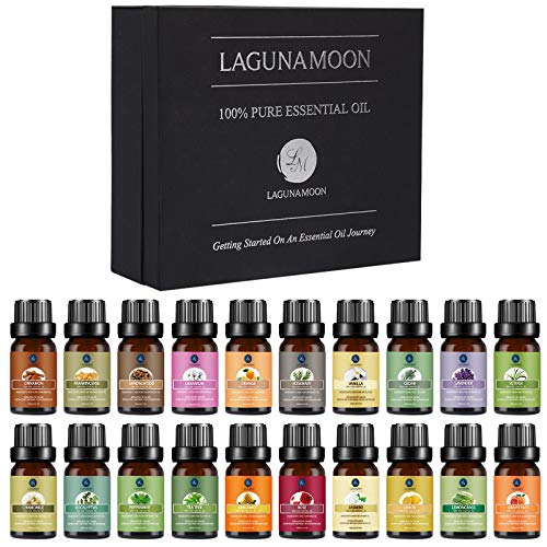 Lagunamoon Premium Essential Oils Set, 20 Pcs Pure Natural Aromatherapy Oils Lavender Frankincense Peppermint Rose Rosemary Sandalwood