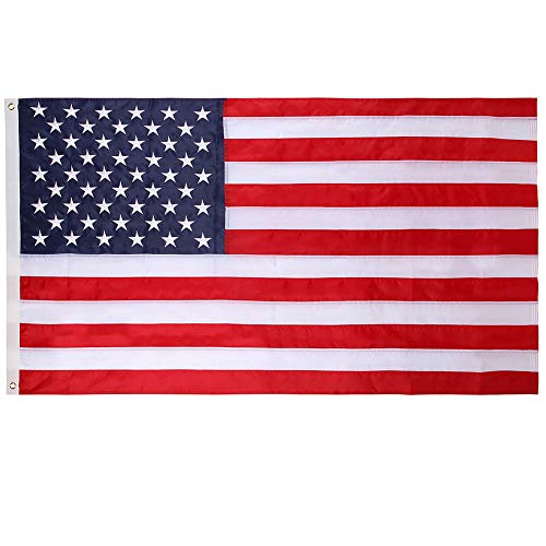 Mosteck American Flag 3x5 ft Heavyweight US Outdoor Flag Embroidered Stars Sewn Stripes DoubleStitched Edges Brass Grommets Tough Durable Fade Resistant All Weather US Flags