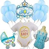 Baby Shower Decoración Globos de Helio - Photocall Babyshower Bautizo - Fiesta de Bienvenida de Bebé Niño - Set de 16 Globos Baby Shower Azul - Fiesta recién nacido - Regalo bebé - Nacimiento