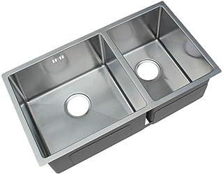 praktische2 Schüssel 60/40 Becken für die Küche, 304 Edelstahlspüle mit Überlaufloch Silber Größe: 760 mm x 420 mm