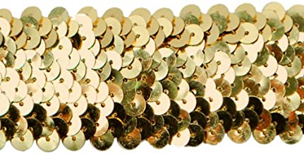 Expo International IR6708GL-10 10-Yard of 4-Row Metallic Stretch Sequin Trim, 1-1/2-Inch, Gold
