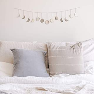 Moon Decor Wall Decorations | Boho Accents Wall Decor | Moon Phases Wall Art | Moon Phase Wall Hanging | Bohemian Decor for Bedroom, Home, Living Room, Apartment or Dorm (Long Garland, Silver Metal)