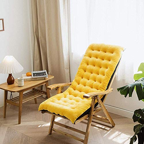 Set Of 4 Chair Cushions Recliner Cushion Back Cushion Garden Chair Cushion Seat Cushion High Back Cushion with Ties Chair Pads for Garden Chair at Home Soft Foam Washable (Color : Yellow)