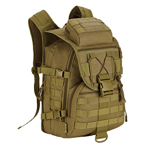 UNISTRENGH 40L Tactical Military Molle Backpack Water&Abrasion Resistant Trekking Bag for Outdoor Traveling Mountaineering Hunting (Brown)