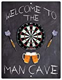 Flag Emotes Welcome to The Man Cave Dartboard Dart Home Bar Beers Aluminum Sign Indoor Outdoor Decorative Plaque (9x12)
