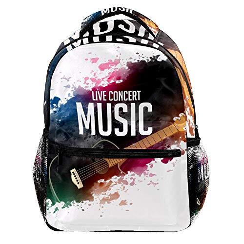 Rucksack, bemalte Gitarre, Farbdruck, modisch, Schule, Studenten, Büchertasche, Outdoor, Reisen, Camping, Wandern, Freizeit, große Kapazität, für Kinder, Mädchen, Jungen