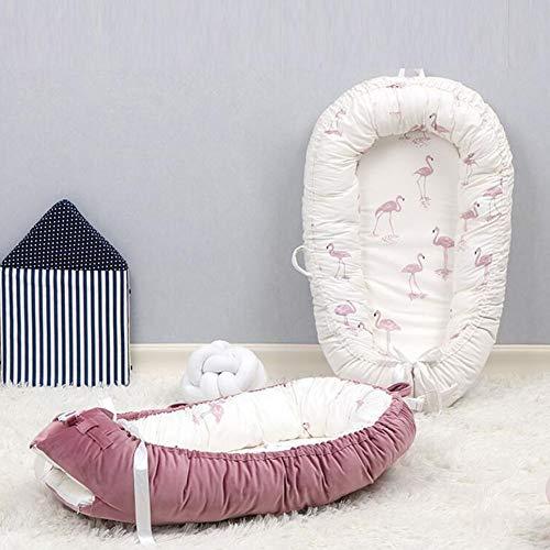 ZIXIANG Lits-Cages Baby Lounger, Portable Double Face Détachable Nouveau-né Lounger, Lit Bionique 100% Coton Suède Lit De Bébé Matelas Lits bébé Berceaux (Color : B)